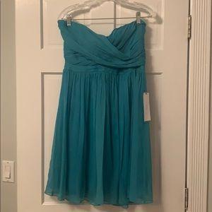 NWT Teal 100% Silk Chiffon Dress